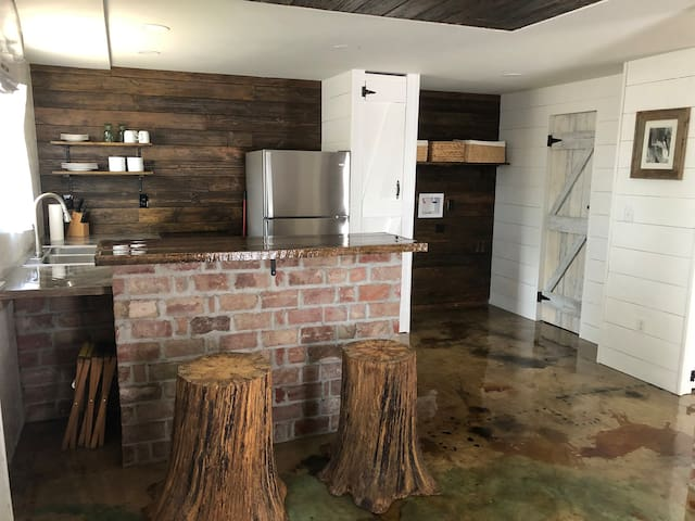 The wood for this wall came from a house in Cabell county.