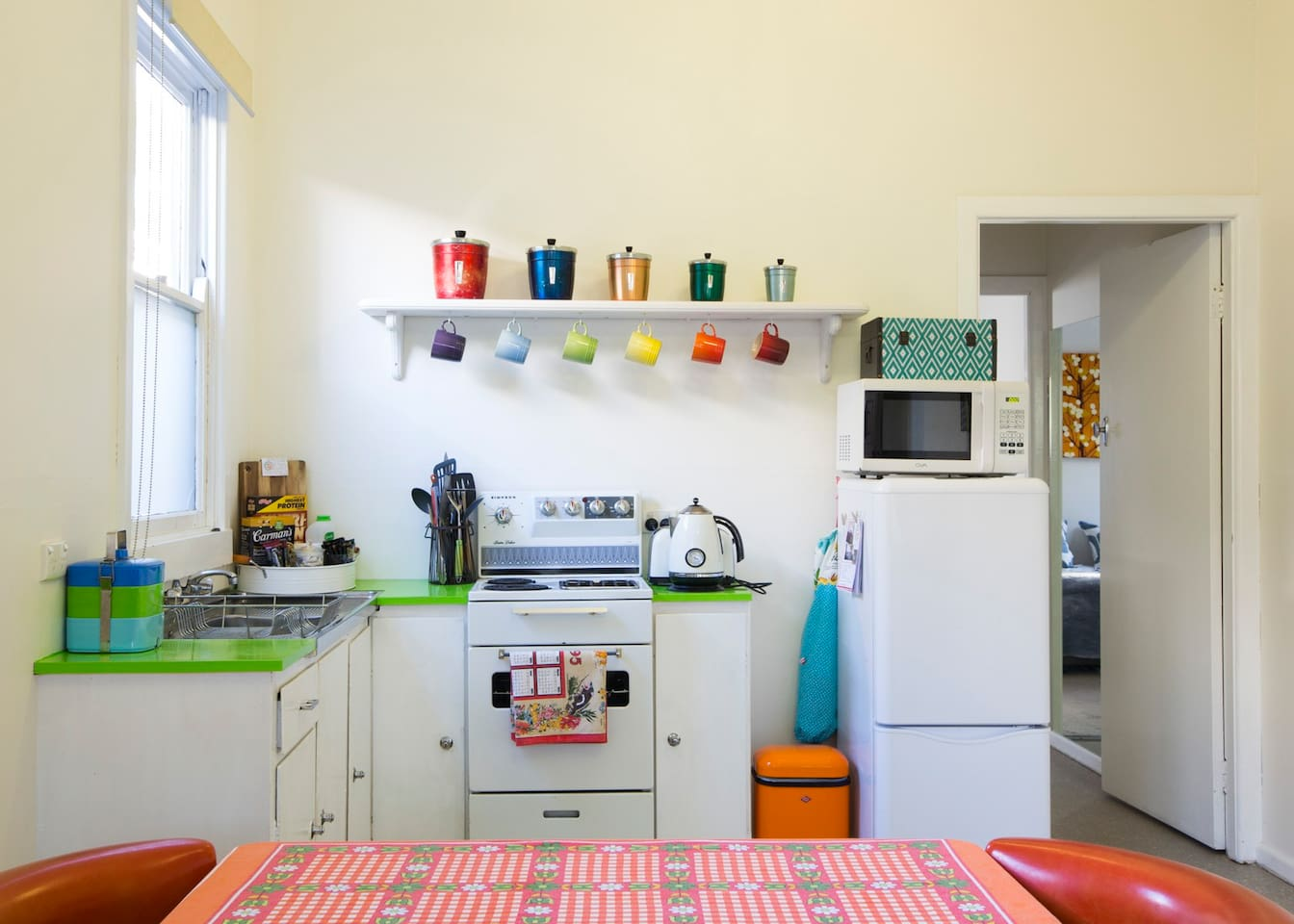 Like a stay at nanas.  Bright, cosy and nostalgic.  We have loved decorating Retro Granny BnB but aren't precious about it.  You and your kids are welcome here.