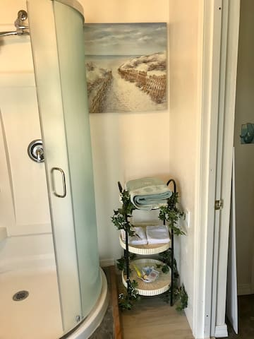 The standing shower is spacious and features a wand shower head. It is immediate to the right upon entering the apartment. Doors and curtains ensure privacy while showering.