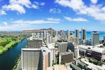 ACTUAL 180 Degree View Taken Directly from Open Air Living Area: Ocean, Mountains, City and Diamond Head Crater