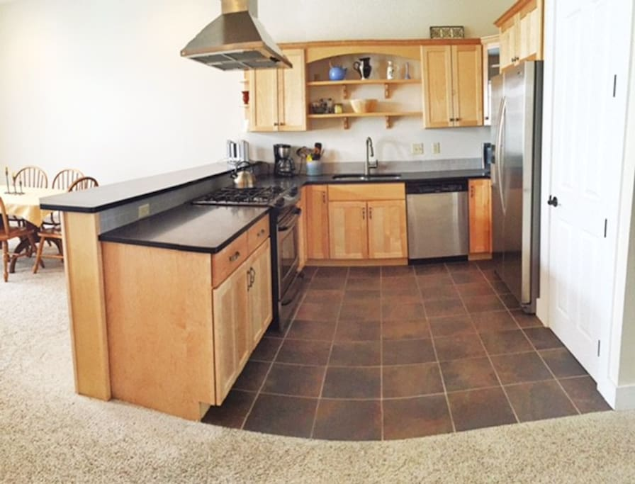 Kitchen is fully stocked so you can cook yummy meals at your home away from home.