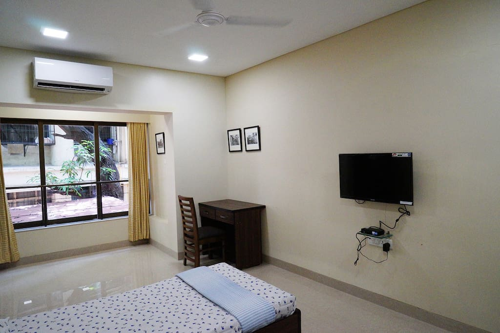 Bedroom with TV, AC