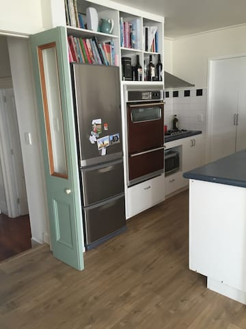 Small but great kitchen - oven works very well. Gas stovetop