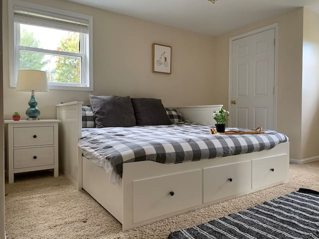 Bedroom 2 contains a trundle/pullout daybed that turns into a KING sized bed!  Convert to either form to fit the needs of your group!