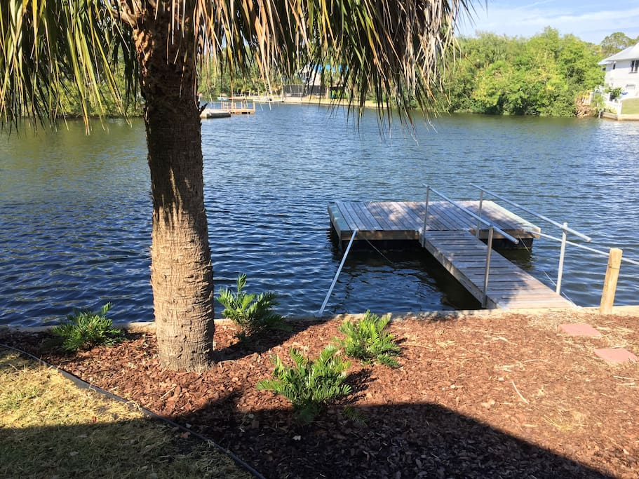 There's a large waterfront with sea wall and private dock.  The canal leads directly to the Gulf of Mexico.