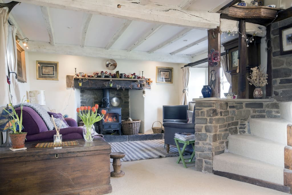 The lounge with  woodburning stove, tv etc