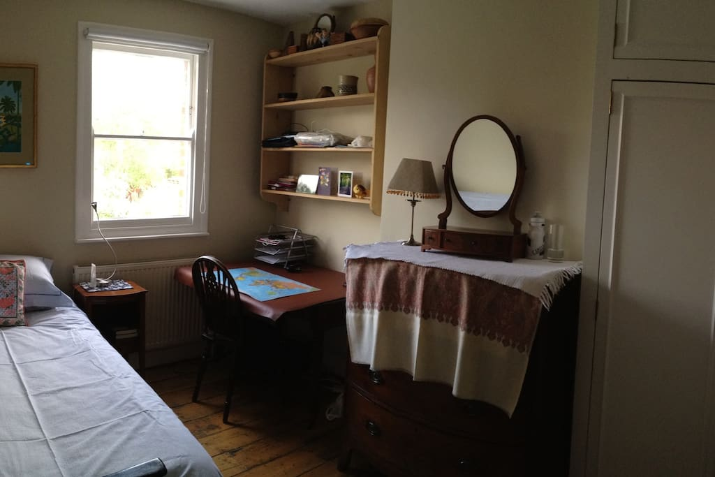 Quiet sunny room overlooking garden