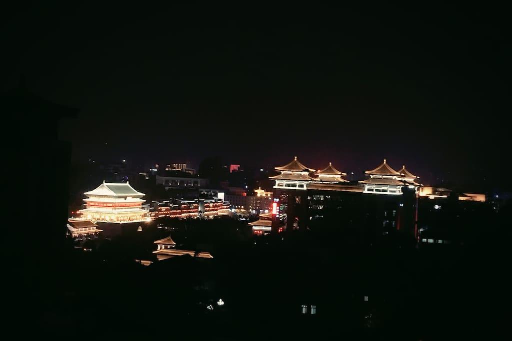 实拍窗外夜景,西安就是这么的漂亮