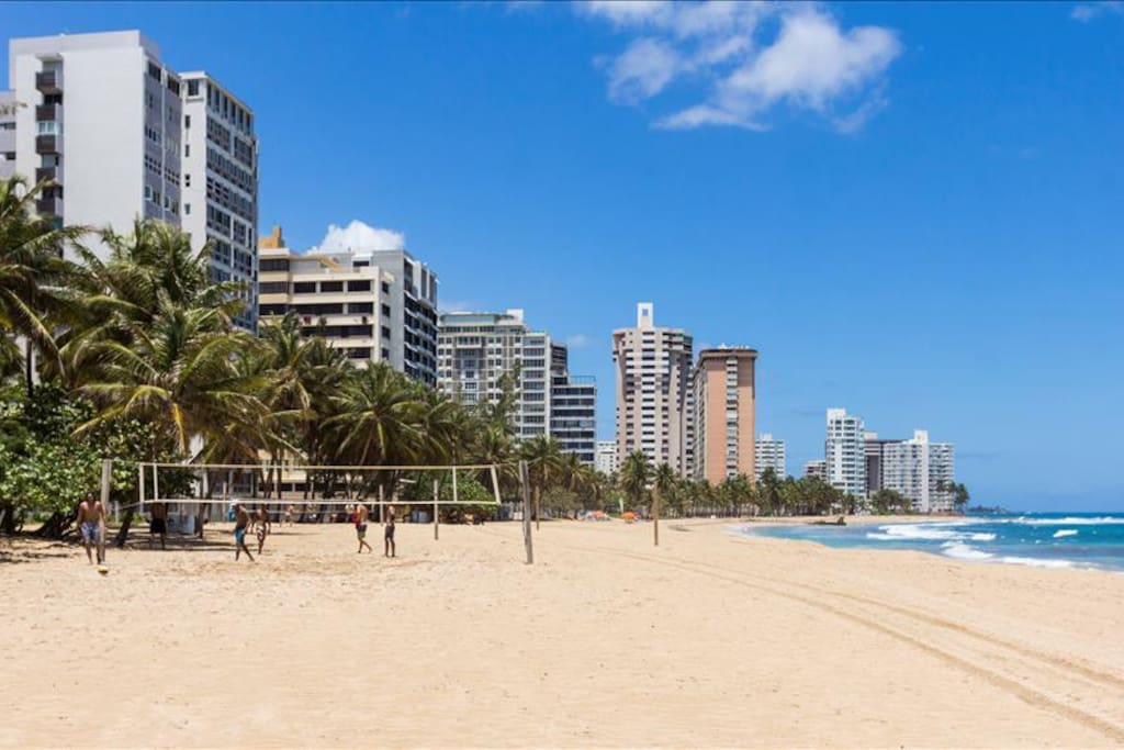 Ocean Park beach is less than a block away