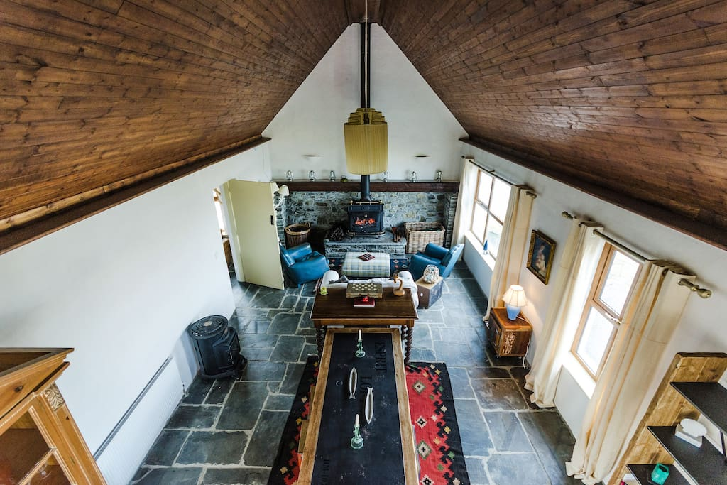 Lounge is 45ft long and this shows the high pitch of ceiling!