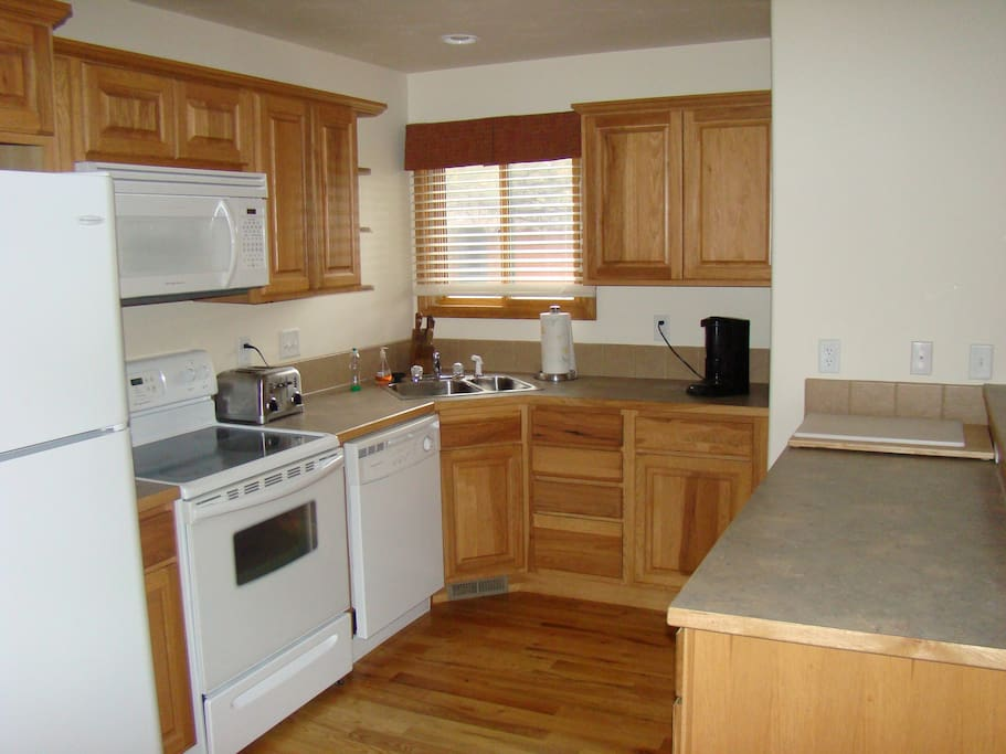 Large fully functional kitchen.