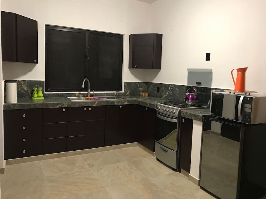 Fully equipped Kitchen with Gas Oven and stove top. Ample fridge space and Microwave Oven.