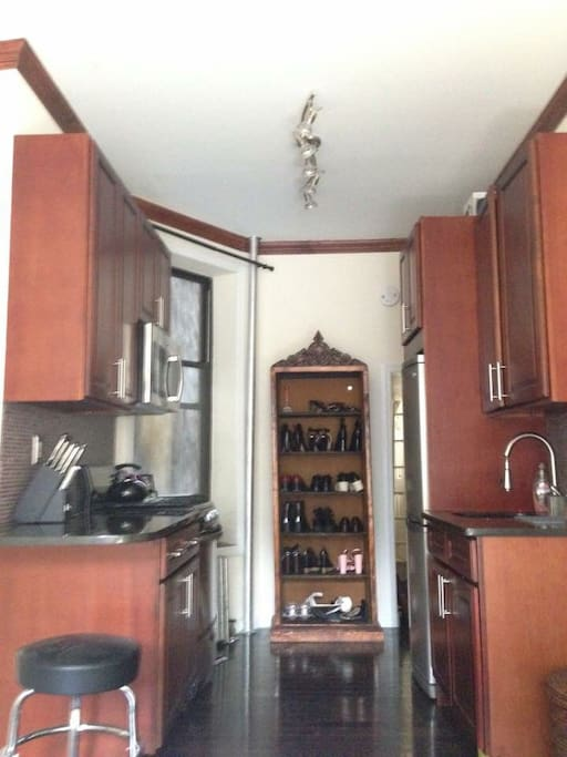 Kitchen, with Gas stove and Microwave, Tea Kettle