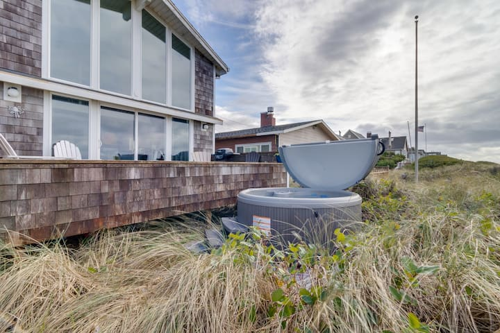 Modern, dog-friendly beach home w/ private hot tub and sweeping oceanfront views