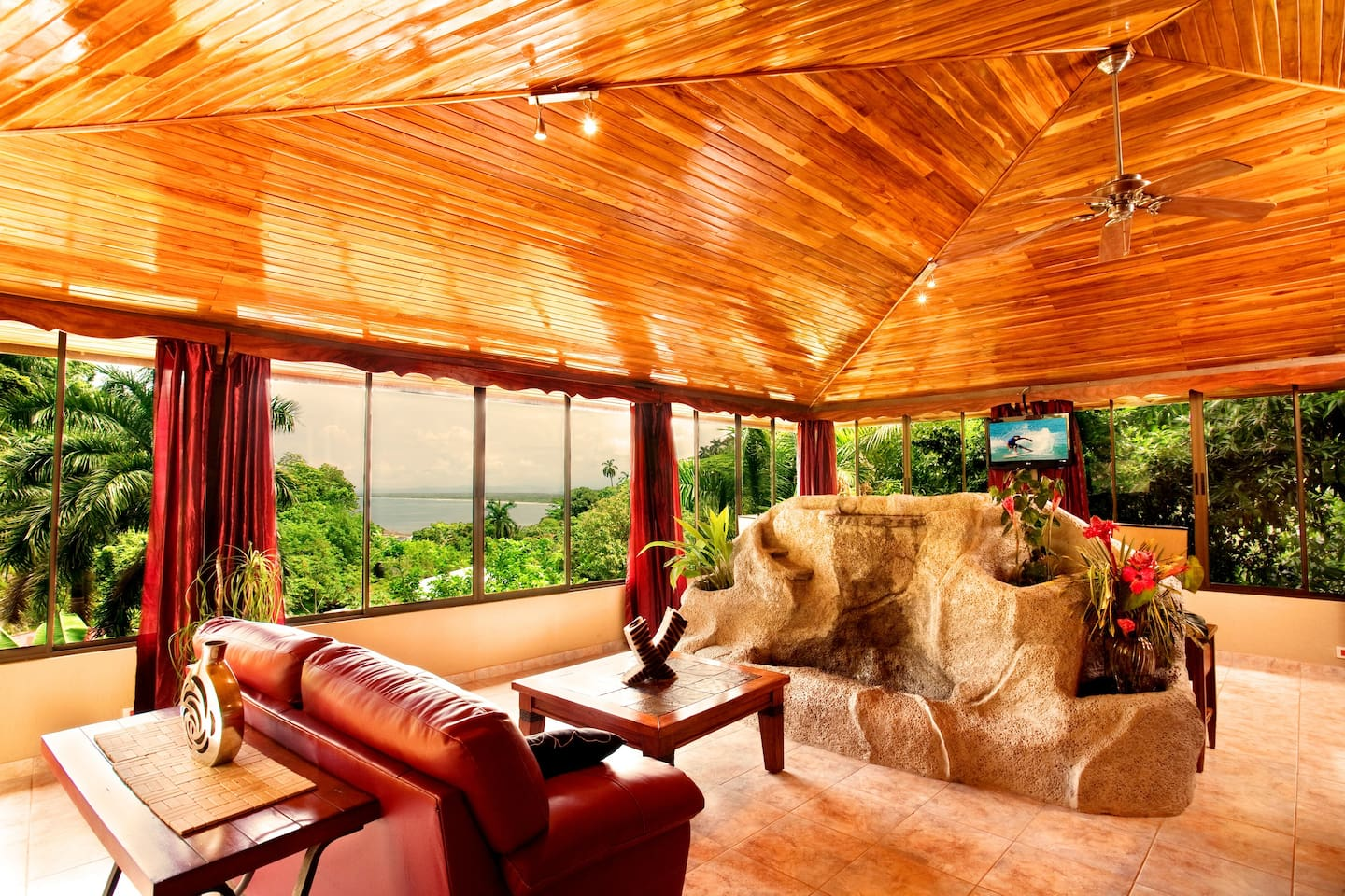 Living Room and Waterfall