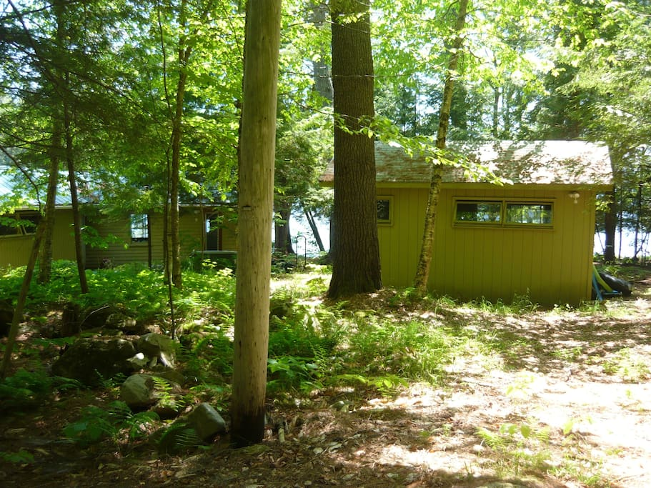 1/2 way down path looking at back of guest cabin on right and main cabin on left, lake beyond