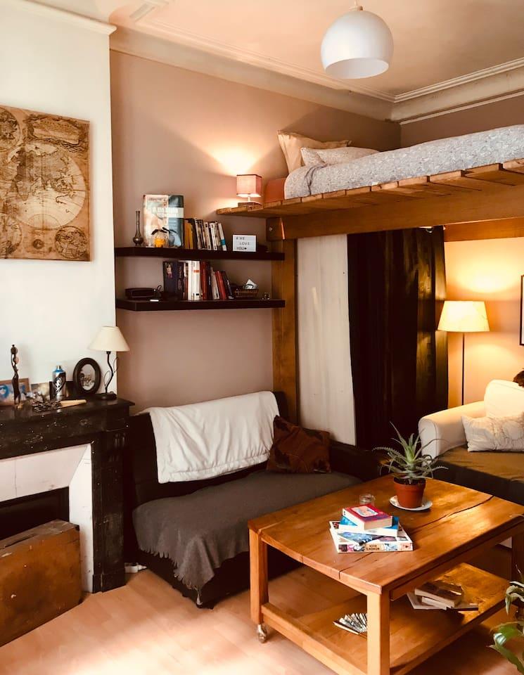 Salon/ lit 2 places mezzanine