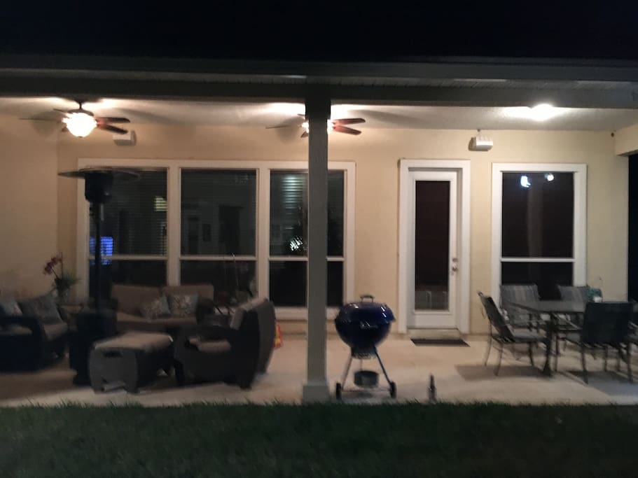 Outside Patio with Weber Kettle BBQ and gas heater