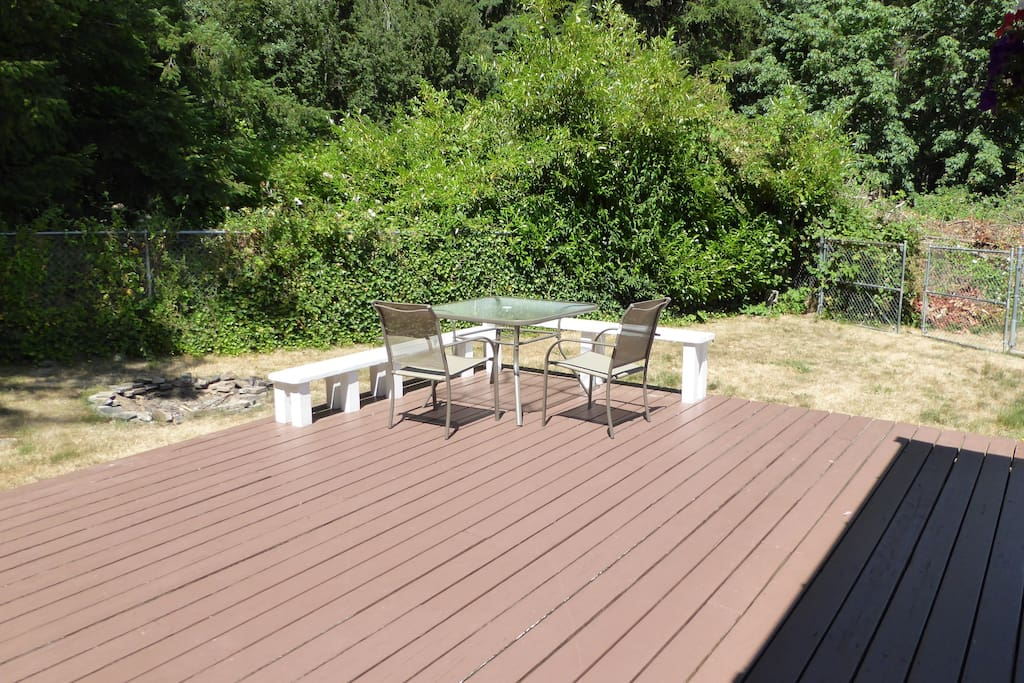 Spacious deck for meals or lounging in the sun