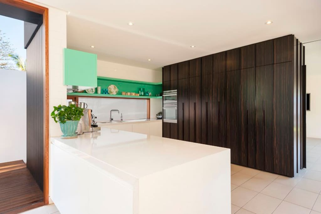 Modern kitchen with fully integrated appliances