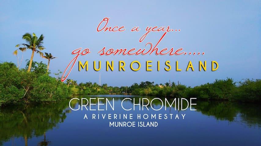 GreenChromide River view bedroom in Munroe Island