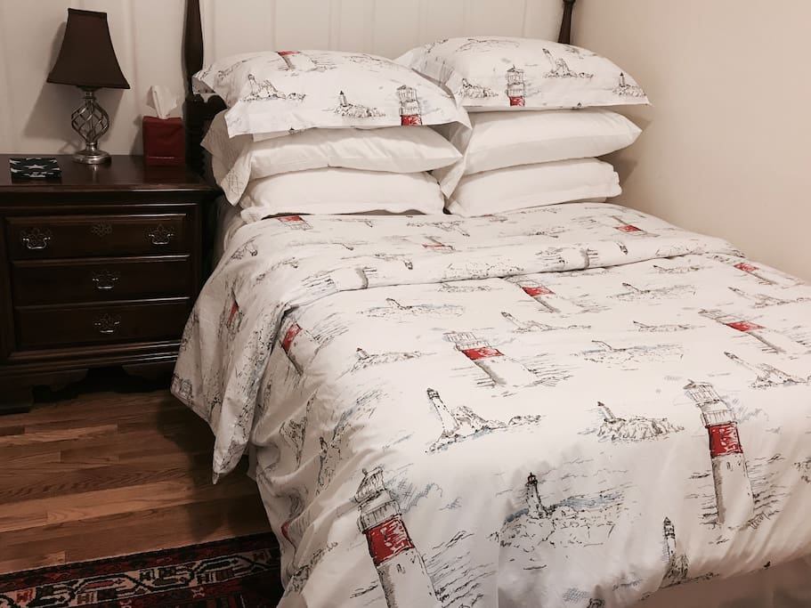 Pottery barn bedding and towels. Lighthouse collection.