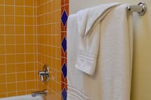 You'll find fluffy new towels in the bathroom.