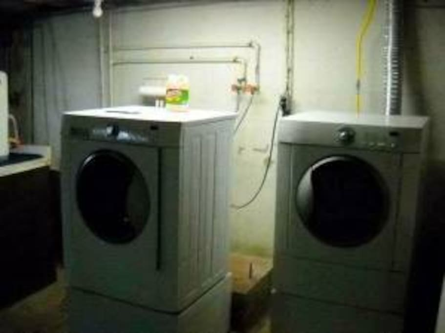 Big, modern Washer and Dryer in basement.. awaiting your favorite clothes.