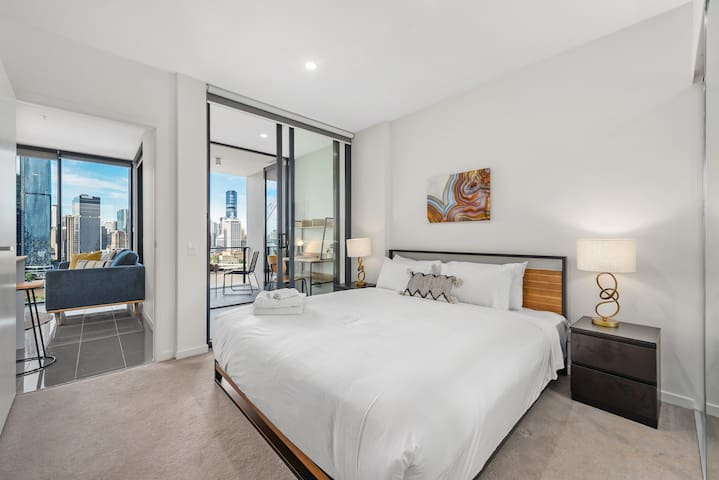 My bedroom features an ultra-comfortable king bed, air-conditioning and balcony access