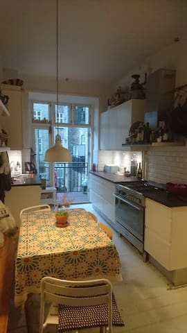 kitchen with view to the balcony