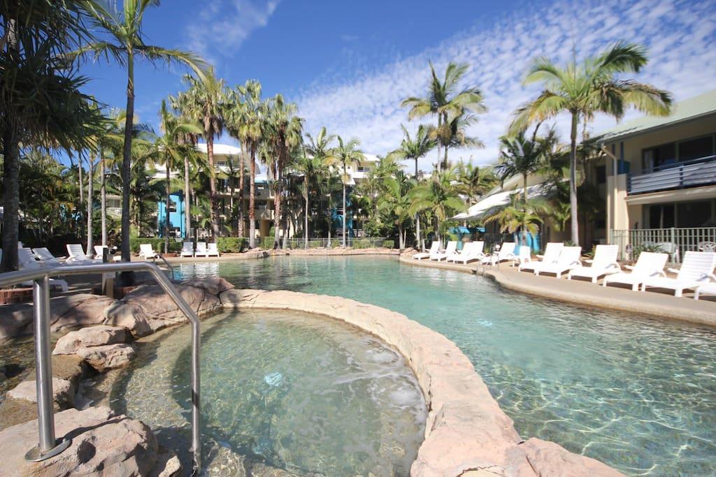 2 large lagoon pools