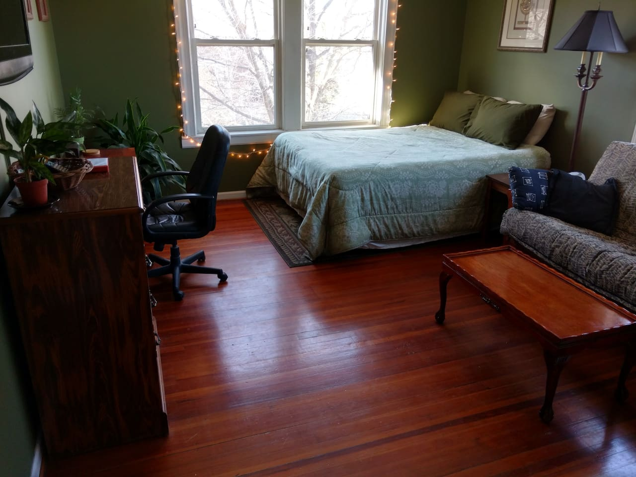 Queen bed and futon that can be converted to a bed.