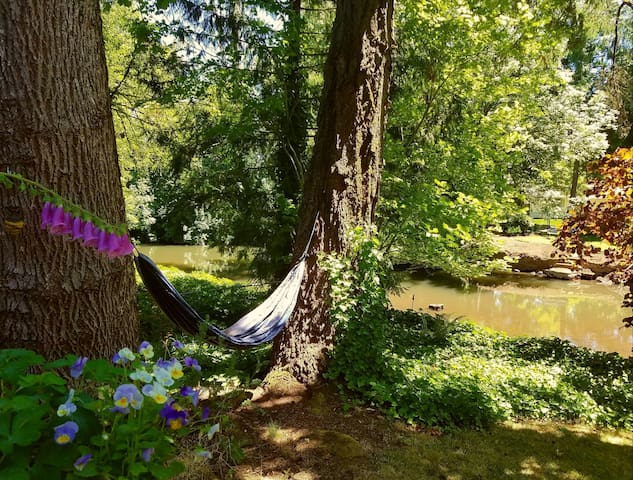 Gently swing in our hammock next to Mill Creek.  (removed during inclement weather)