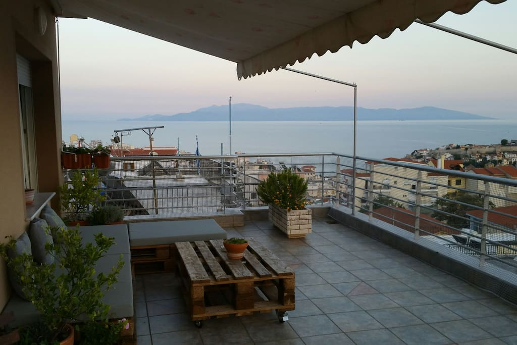 35m2 Balkony with homemade furniture and a breath taking view of Kavala...
