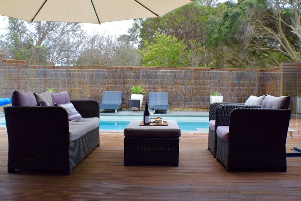 Outdoor area & pool (view from living room)