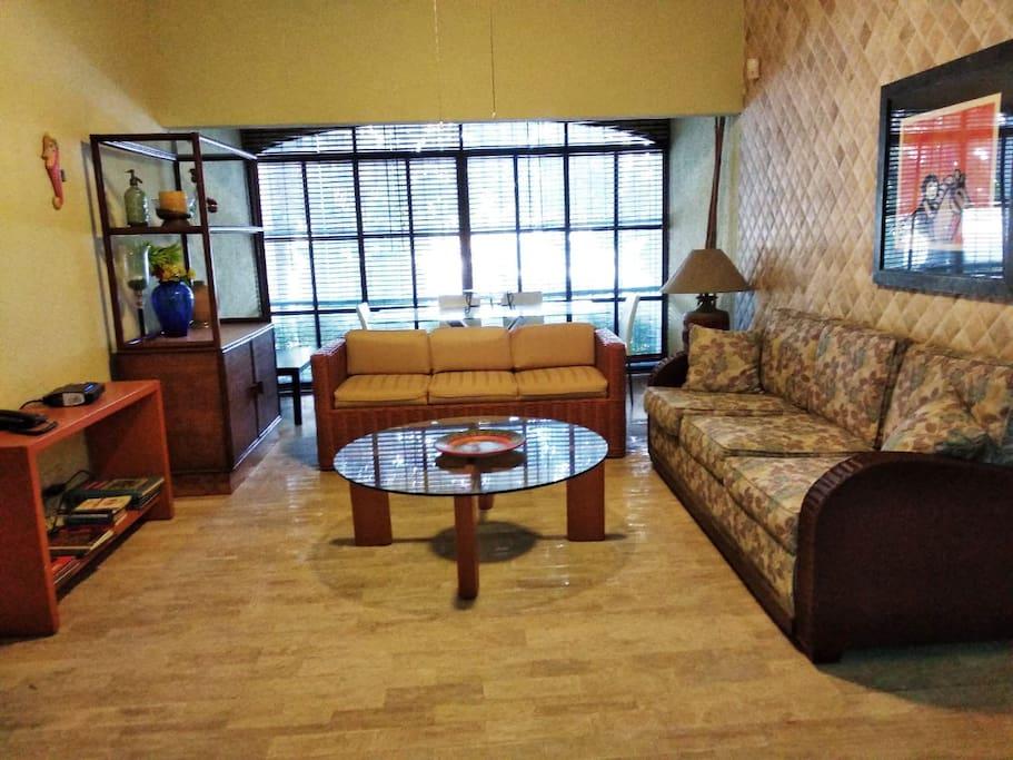 -Sala de estar con dos sofas grandes. -Living room with 2 large sofas.