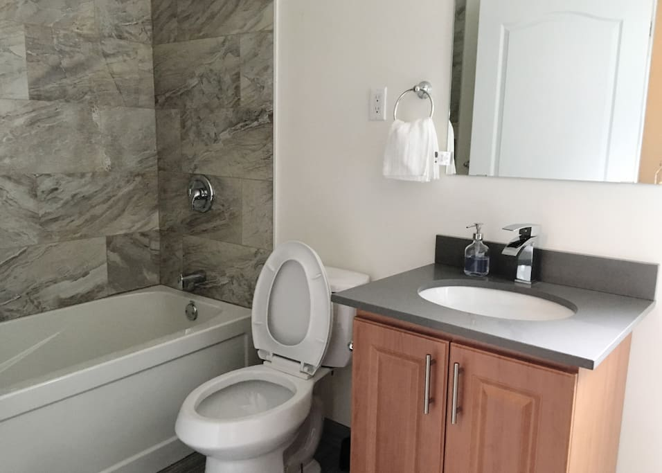 Brand new renovated washroom with a bathtub!! High water pressure and hot water (brand new water heater)