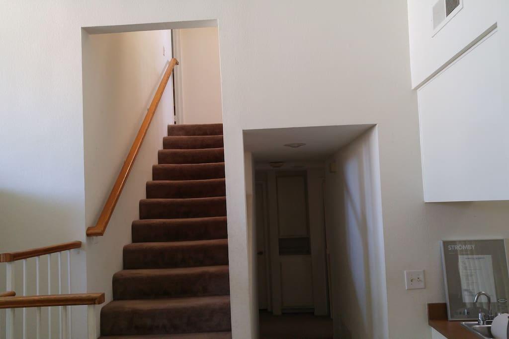 stairway to 2nd floor room (room is on the left)