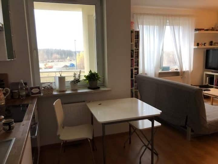 Comfy studio w/ balcony in a modern apt. building