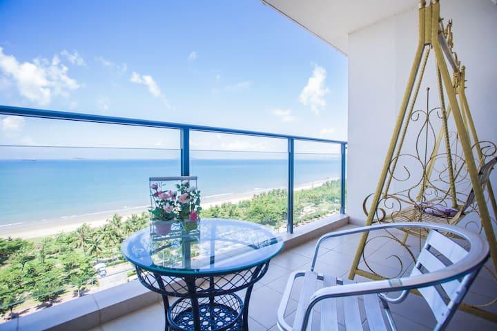 三亚湾兰海花园三期180度全海景蜜月圆床房或大床 - Sanya - Appartement