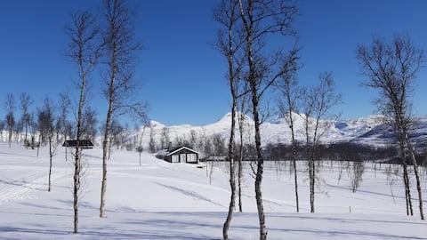 Jaukus kalnų namelis vaizdingoje aplinkoje.
