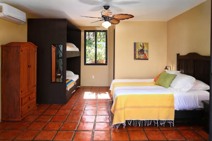 Second Floor Bedroom (queen bed and bunk bed with half bathroom)