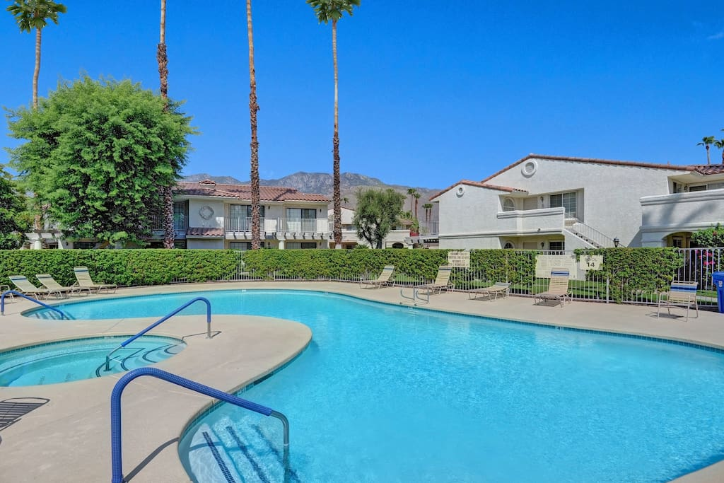 This quiet end-unit rental is close to the shared pool and spa.