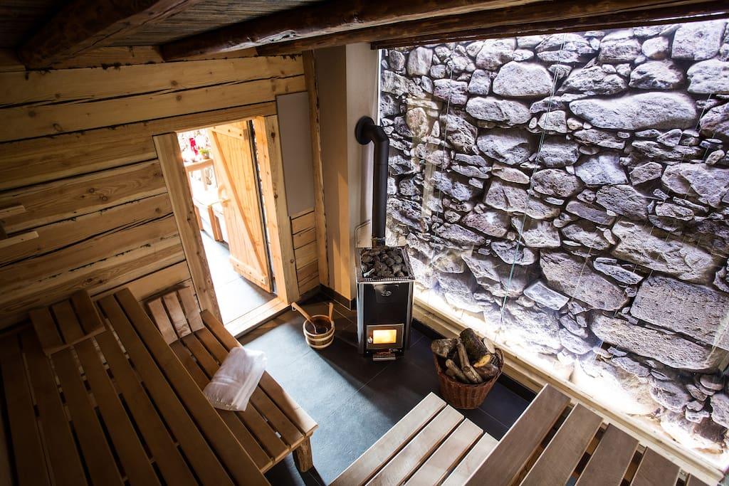 Hauseigene Sauna und Schwimmteich im Garten.