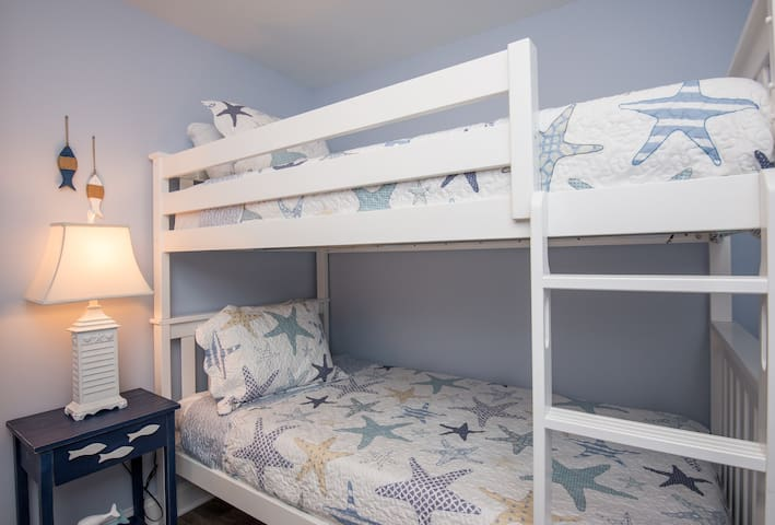 The bunk bed room is sweet and cozy and all brand new!