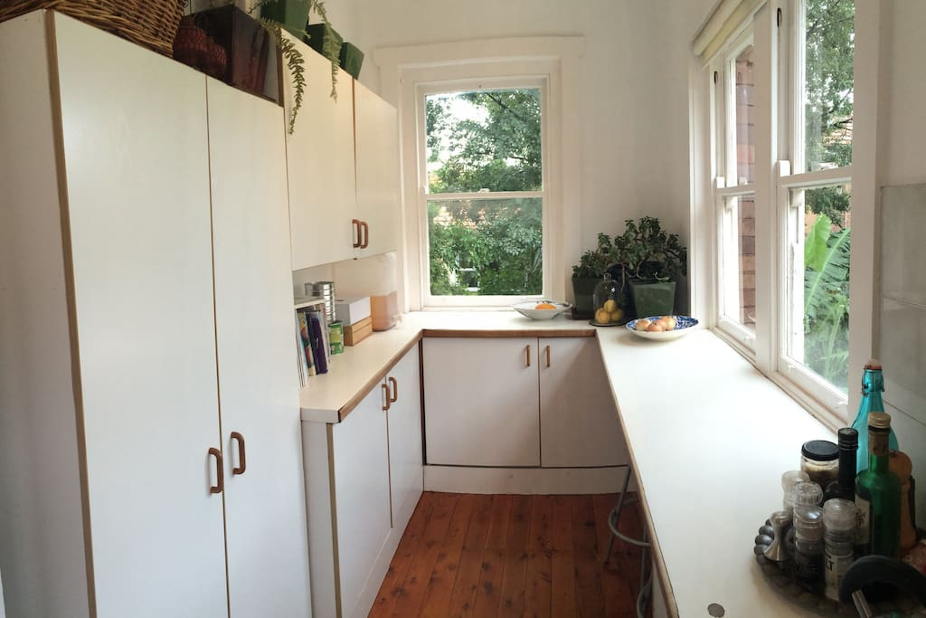 Tidy kitchen with views to the garden.