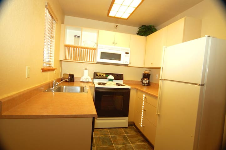 Full Kitchen, MW, Dishwasher, Range, Oven, Refrigerator