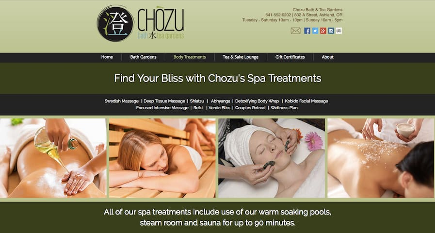 Chozu offers a variety of body treatments including massage, Reiki, scrubs, facials and more. Cottage guests receive 15% off these services.