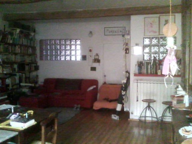 la sala con divano letto