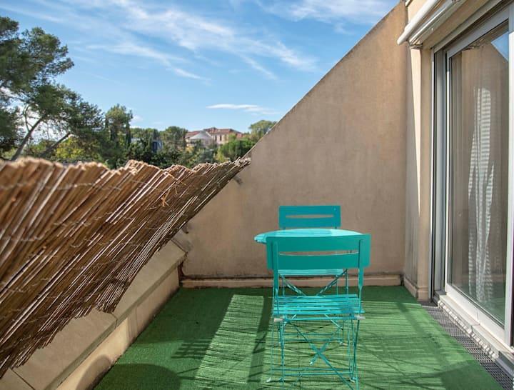 ❤Appart cosy climatisé, jolie terrasse & parking ★
